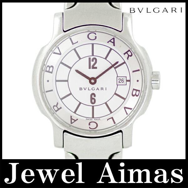 【BVLGARI】ブルガリ ソロテンポ ST29S ホワイト 文字盤 SS ステンレス レディース クォーツ【中古】【腕時計】