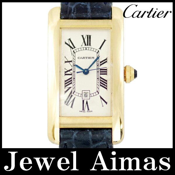 【Cartier】カルティエ タンクアメリカMM アイボリー 文字盤 K18YG 金無垢 純正K18YG尾錠 社外革ベルト メンズ 自動巻き【中古】【腕時計】