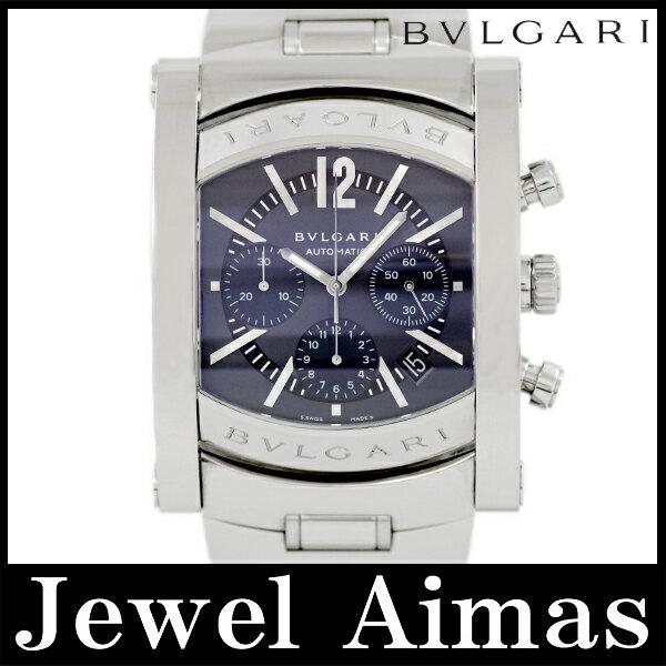 【BVLGARI】ブルガリ アショーマ AA48SCH クロノグラフ デイト グレー 文字盤 SS ステンレス メンズ 自動巻き【中古】【腕時計】