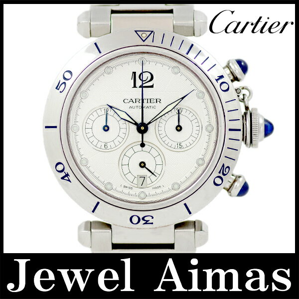 【Cartier】カルティエ パシャ 38mm W31030H3 クロノグラフ シルバー ギョーシェ 文字盤 SS ステンレス メンズ 自動巻き【中古】【腕時計】