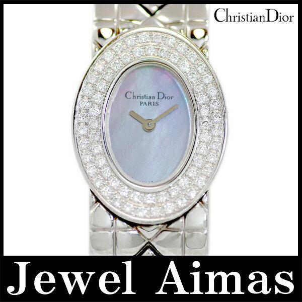 【Christian Dior】クリスチャンディオール レディディオール ベゼル2重ダイヤモンド D90-101 シェル 文字盤 SS ステンレス バングルウォッチ レディース クォーツ【中古】【腕時計】