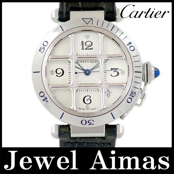 【Cartier】カルティエ パシャ グリッド 38mm W3104055 裏スケルトン シルバー 文字盤 SS ステンレス 純正ベルト 純正Dバックル尾錠 メンズ 自動巻き パシャ38 グリット【中古】【腕時計】