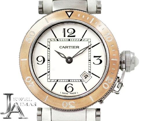 【Cartier】カルティエパシャシータイマーW3140001デイトホワイト白シルバー文字盤K18PGピンクゴールドベゼルSSステンレスピンクゴールド純正ラバーベルトレディースボーイズクォーツ【中古】【腕時計】