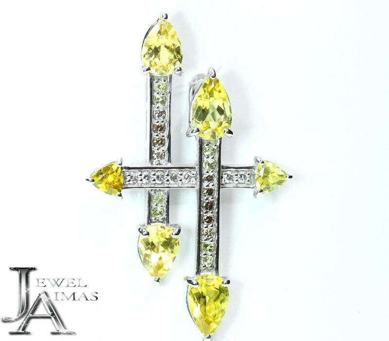 カナリートルマリン トルマリン 3.67ct ダイヤモンド 0.21ct クロス 十字架 ペンダントトップ K18WG ホワイトゴールド【中古】【ジュエリー】MJJE