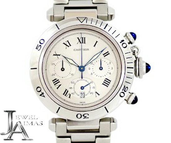 【Cartier】カルティエ パシャ 38mm クロノグラフ デイト W31018H8 ホワイト ギョーシェ 文字盤 SS ステンレス メンズ クォーツ W31018H3【中古】【腕時計】