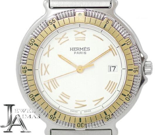 【HERMES】エルメス キャプテンニモ 白 ホワイト 文字盤 SS ステンレス YGP コンビ メンズ ボーイズ レディース クォーツ【中古】【腕時計】