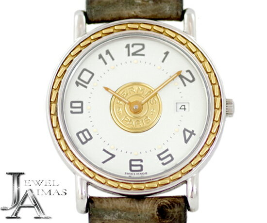 【HERMES】エルメス セリエ ウォッチ ホワイト 白 文字盤 デイト カレンダー YGP イエローゴールド SS ステンレス 純正ベルト グレー オーストリッチ レディース クォーツ【中古】【腕時計】