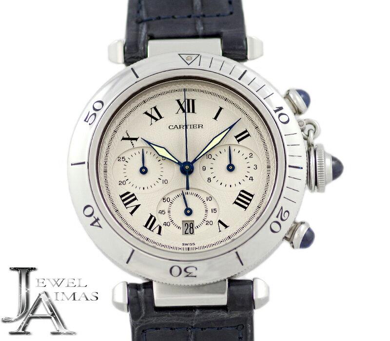 【Cartier】カルティエ パシャ 38mm クロノグラフ デイト W31018H8 白 ホワイト ギョーシェ 文字盤 SS ステンレス メンズ クォーツ W31018H3【中古】【腕時計】