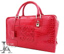 1d43ed05661 Loewe crocodile Amazona 36 hand Boston bag red Rouge red silver fittings