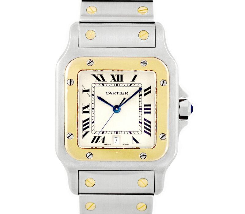 【Cartier】カルティエ サントスガルベ LM デイト 白 アイボリー 文字盤 K18YG イエローゴールド SS ステンレス コンビ ボーイズ メンズ レディース クォーツ【中古】【腕時計】