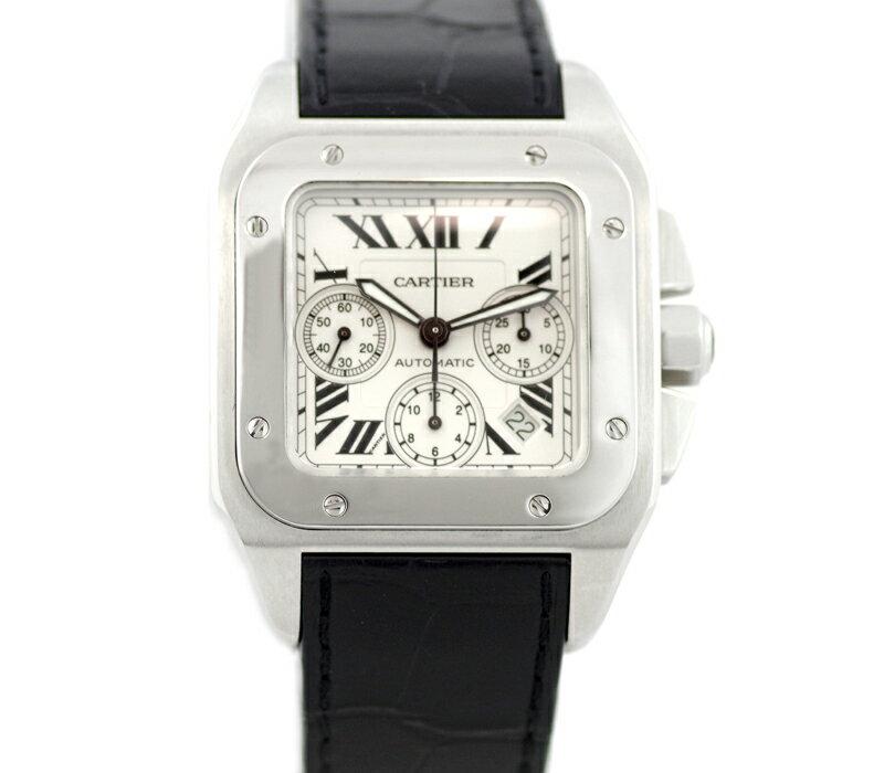 【Cartier】カルティエ サントス100 XL クロノグラフ W20090X8 シルバー 文字盤 SS ステンレス 純正レザーベルト メンズ 自動巻き【中古】【腕時計】