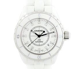 da4af9de3aa3 中古 【CHANEL】シャネル J12 H1629 38mm 純正12Pダイヤモンド デイト 白 ホワイト 文字盤 セラミック 自動巻き 200m防水  メンズ【中古】【腕時計】