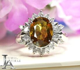 スフェーン 3.57ct ダイヤモンド 0.63ct オーバル 楕円 スフェーンリング 12号 PT900 プラチナ【中古】【ジュエリー】RZJ.T