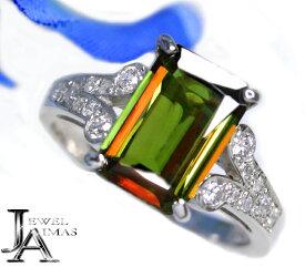 スフェーン 2.93ct ダイヤモンド 0.28ct レクタングル 長方形 スフェーンリング 12号 PT900 プラチナ【新品】【ジュエリー】RZJ.T