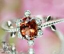 オレンジスピネル 0.9ct ダイヤモンド 0.05ct リング 11号 PT900 プラチナ 花 フラワー 葉っぱ リーフ ボ…