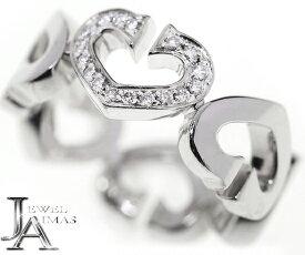 【Cartier】カルティエ Cハート ダイヤモンド リング 7号 K18WG ホワイトゴールド【中古】MJY