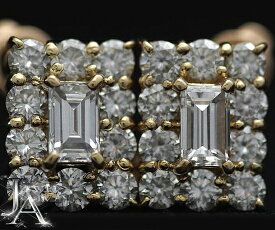 【Boucheron】ブシュロン ダイヤモンド エメラルドカット ピアス 750YG K18YG 18KYG 【中古】fs04gm