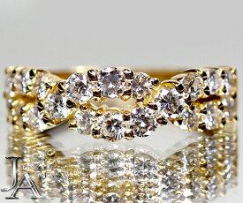 【BOUCHERON】ブシュロンダイヤモンド 20P(約1.2ct) リング K18YG 750YG 10.5号 美品【中古】