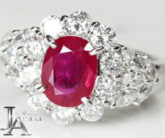 Manmar (Burma) ruby 1.88ct diamond 1.47ct ring 10.5 PT900 GIA from Myanmar (product in Burma)