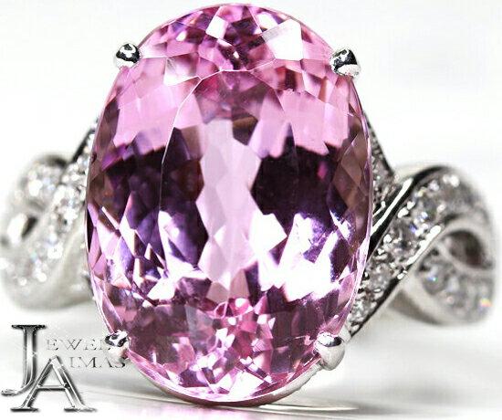 【ジュエリー】クンツァイト 18.71ct ダイヤモンド 0.88ct リング 23号 PT900【中古】