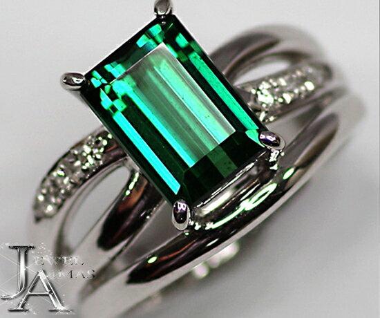 【TASAKI】 田崎真珠 タサキ グリーントルマリン 3.1ct ダイヤモンド 0.07ct リング 11号 PT900 【中古】