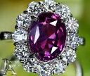 スリランカ産 パープルサファイア マゼンタサファイア 4.39ct ダイヤモンド 1.75ct リング 11号 PT900 プラ…