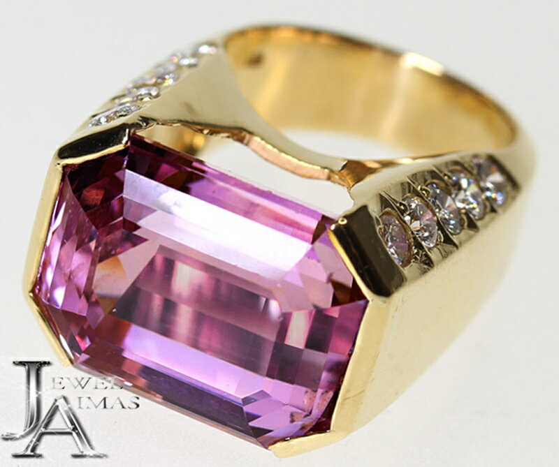 【スーパーSALE30%オフ】【ジュエリー】クンツァイト 20.05ct ダイヤモンド 2.052ct エメラルドカット リング 11号 K18YG 【中古】