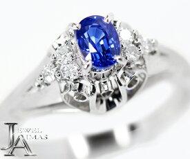 ブルーサファイア 0.51ct ダイヤモンド 0.10ct リング 12号 PT900【中古】【ジュエリー】ZPB