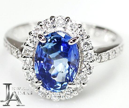 緬甸產(緬甸產)藍色藍寶石2.698ct鑽石0.45ct環11.5號PT900 Myanmar Jewel Aimas