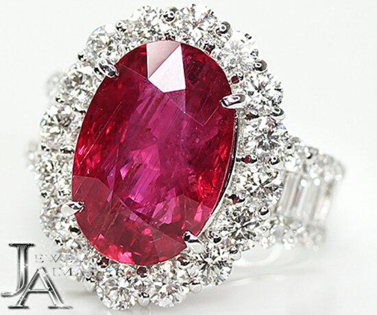 ★大幅度的降價!★莫桑比克產紅寶石10.3ct鑽石2.86ct環12.5號PT900 Jewel Aimas