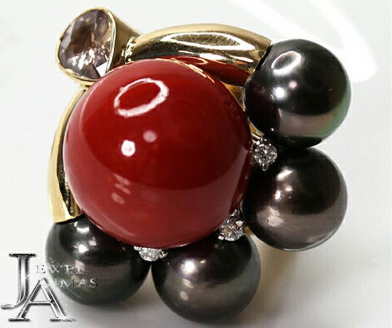 【ジュエリー】血赤珊瑚 血赤サンゴ 血赤さんご 17.6mm ダイヤモンド 3P 黒蝶真珠 パール リング 18号 K18YG【中古】