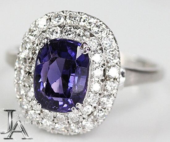 非的加熱尖晶石紫色尖晶石紫色彩色兌換尖晶石2.66ct鑽石0.69ct環PM850 14.5號<不加熱/no heating>GIA Jewel Aimas