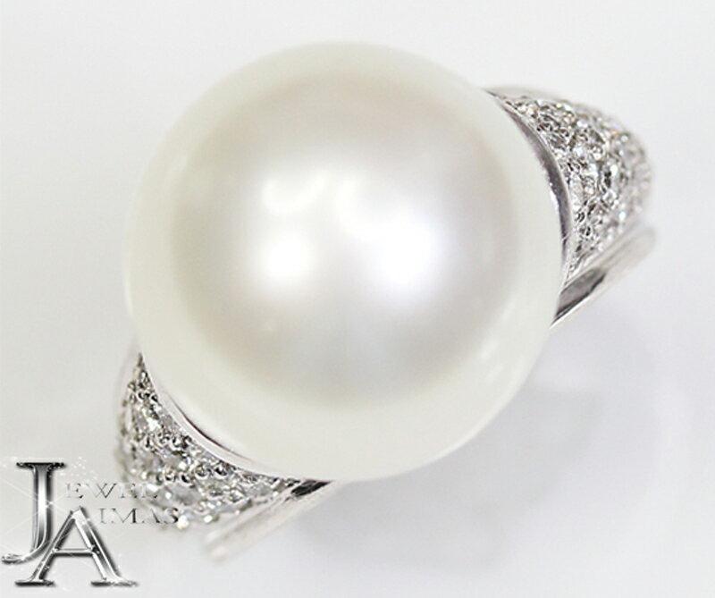 【ジュエリー】南洋パール 白蝶パール 白蝶真珠 14.2mm ダイヤモンド 0.74ct リング 7号 PT900【中古】
