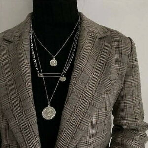 コイン 安全ピン ネックレス 3連 B系ファッションに抜群の相性 ド派手 贈り物 ファッション ギラギラ コインネックレス メンズ レディース ユニセックス ジュエリー 個性的 派手