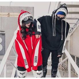 ダブルフードパーカー Wフード 男女兼用 アメカジ ビックロゴパーカー 韓流ファッション ビッグtシャツ ビックシルエット