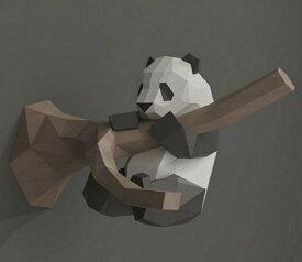 パンダ 手作り ハンティングトロフィー クラフトペーパー パンダ DIY 紙おもちゃ 3D折り紙 ペーパーモデル ペーパーアート クラフト 3Dアニマルウォール 紙おもちゃ壁掛け インテリアおしゃれ オブジェ 剥製風 工作 自由研究 キット 夏休み