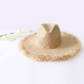 送料無料 ミニ ラフィアハット ライトベージュ フリンジトリム ストローハット 麦わら帽子 レディース帽子 つば広ハット つば広帽子 レディース つば広 ワイドブリム シンプル おしゃれ かわいい 夏 旅行 リゾート 海 ビーチ プール