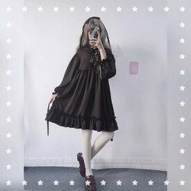 三日月 ロリータ ワンピース コスプレ 可愛い 長袖ワンピース 演出服 レディース 二次元衣装 美少女ウェア ゴシック ゴスロリ