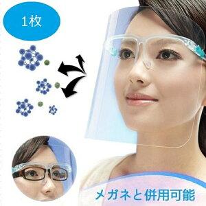 フェイスシールド メガネ型 クリア フェイスガード 眼鏡型 医療用 透明シールド フェイスカバー 透明マスク 眼鏡タイプ メガネタイプ 軽量 PC素材 洗える めがね 顔 医療 シールド取り換え可