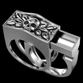 髑髏 スカル ドクロ 盗賊 リング 18号 お宝 隠し スペースリング スライドリング 秘密の指輪 リング 遺骨 指輪 リング 遺骨 メモリアルリング 火葬リング リング 指輪 シルバーカラー燻し風仕上げ メンズ リング リッチ 重量感 スパイグッズ マジック 手品 面白グッズ