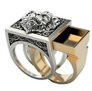 LION ライオン 盗賊 リング 24号 お宝 隠し スペースリング スライドリング 秘密の指輪 リング 遺骨 指輪 リング 遺骨 メモリアルリング 火葬リング リング 指輪 シルバーカラー燻し風仕上げ