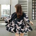 ショート 鶴 法被 着物 ローブ 羽織り コスチューム コスプレ衣装 ダンス衣装 和柄 鶴法被 半纏 はんてん ハッピ はっ…