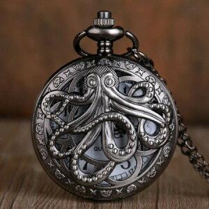 時計 懐中時計 タコ 海賊 クォーツ式 ヴィンテージ ブロンズ チェーン付き 高耐久性 クオーツ ローマ数字 文字盤 メンズ レディースユニセックス アンティーク クラシック ペンダント おし