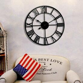 大きなアイアンフレーム アンティーク 雑貨 壁掛け時計 アイアン雑貨 男前インテリア 掛け時計 アンティークデザイン アメリカンクロック ウォールクロック インテリア 壁飾り 壁掛け 静音 アイアン おしゃれ かっこいい モダン 大きめ