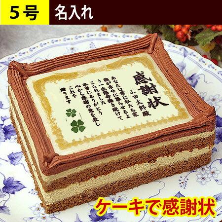 ケーキで感謝状 名入れ 5号サイズ(ケーキ 感謝状ケーキ スイーツ お菓子 メッセージ入り 誕生日プレゼント 喜寿祝い 還暦祝い 名前入り デコレーションケーキ お祝い ギフト ありがとう お返し お礼 バースデー 退職祝い 退職 表彰状ケーキ 冷凍 プリント 記念日)
