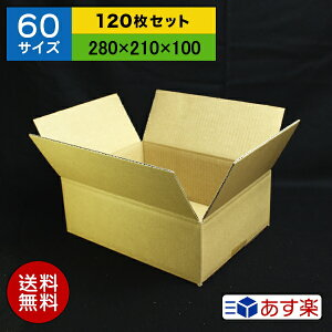 ダンボール箱 60サイズ (280×210×100) (無地×120枚)【 送料無料 あす楽 日本製 段ボール 梱包用 通販用 小物用 宅配 発送用 ネットショップ オークション フリマアプリ 引越し 引っ越し 収納 薄型