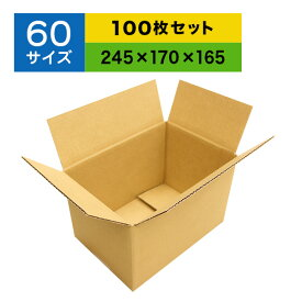 ダンボール60サイズ ダンボール 箱 段ボール 日本製ダンボール 無地ダンボール 宅配 60ダンボール 100枚セット 送料無料