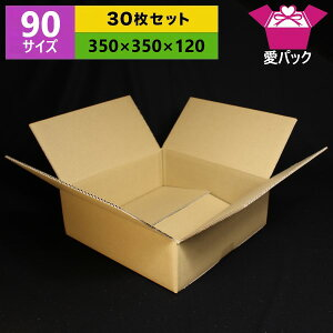 ダンボール箱 90(100)サイズ オーダーメイド(350×350×120)(無地×30枚)【 日本製 段ボール 梱包用 通販用 小物用 引越し 引っ越し 収納 無地ケース 】
