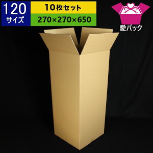 ダンボール箱 120サイズ オーダーメイド(270×270×650) (無地×10枚)縦型【 日本製 ダンボール 段ボール 段ボール箱 梱包用 通販用 小物用 引越し 引っ越し 収納 薄型素材 無地ケース 】