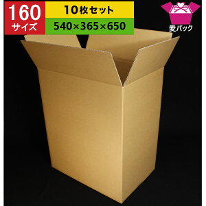 ダンボール箱 160サイズ (540×365×650) (無地×10枚) 中芯強化材質【 日本製 ダンボール 段ボール 段ボール箱 梱包用 発送用 宅配 引越し 引っ越し 収納 無地ケース 多目的用 】